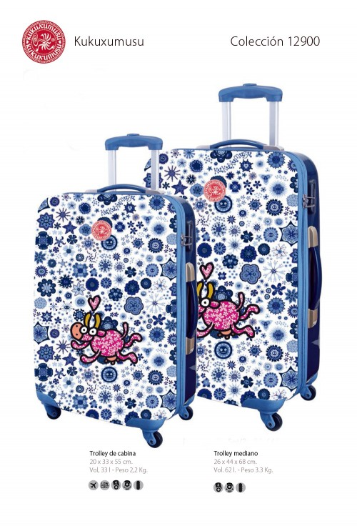 maleta de cabina kukuxumusu 12900 maleta mediana kukuxumusu 12900