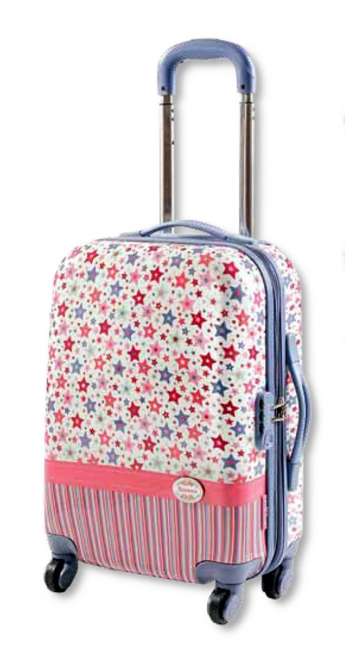 maleta flamenco mediana azul rosa 3425
