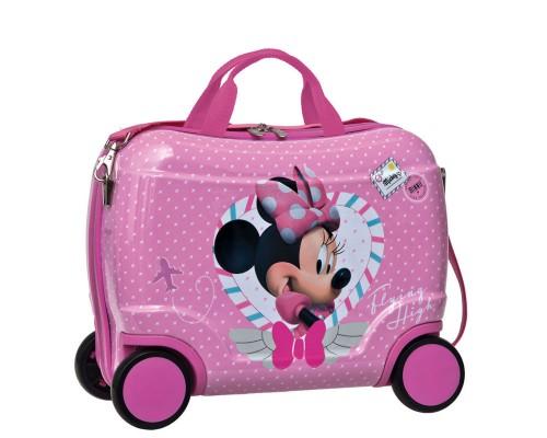 maleta infantil con asa 4 ruedas de minnie 1631001