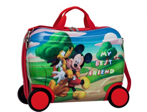 maleta infantil mickey 4 ruedas con asa 1621001