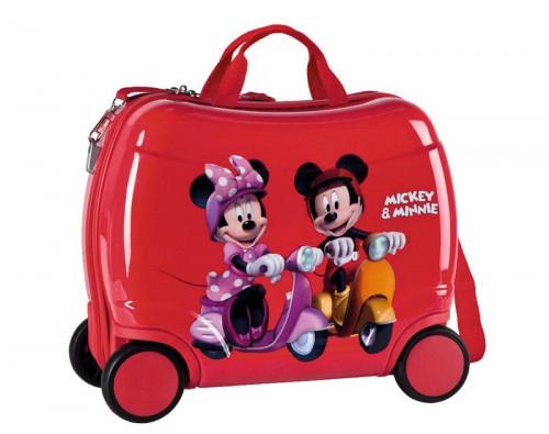 maleta infantil minnie y mickey 4 ruedas con asa 1531001