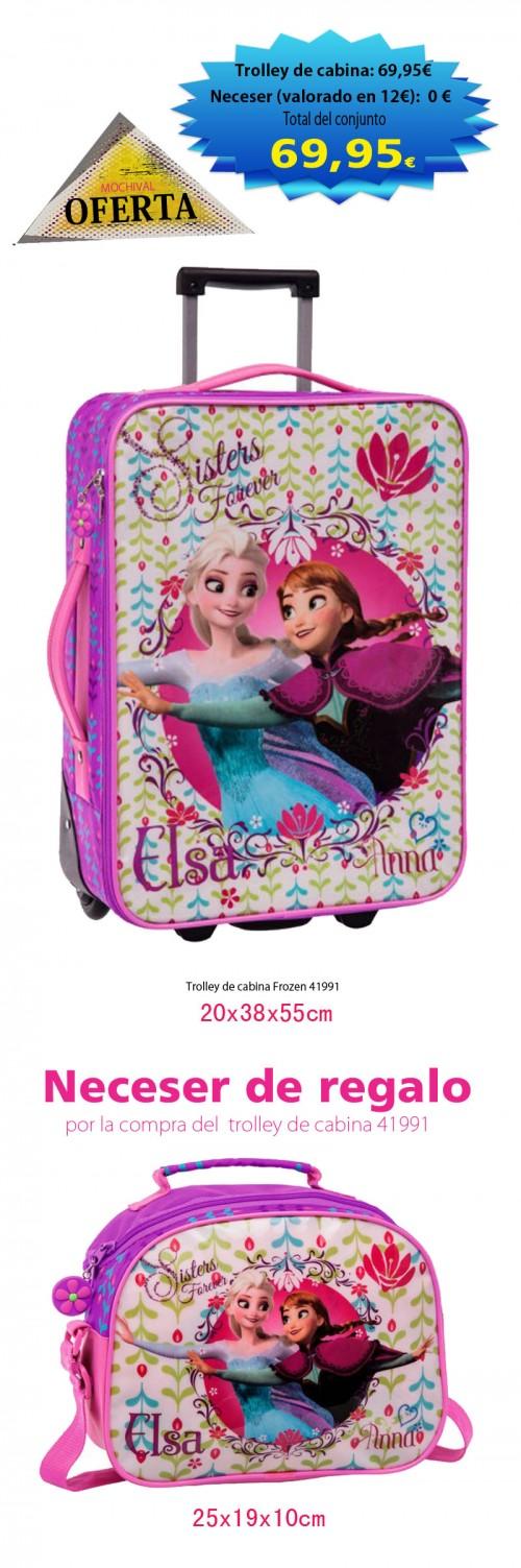 oferta maleta de cabina y neceser de regalo de frozen 41991