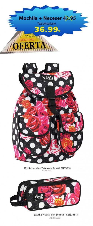 Oferta mochila con solapa   621336738 y estuche 821336513  de Vicky Martín Berrocal
