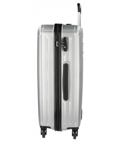 Maleta Mediana Stripes Gris 7877852 Cerradura TSA
