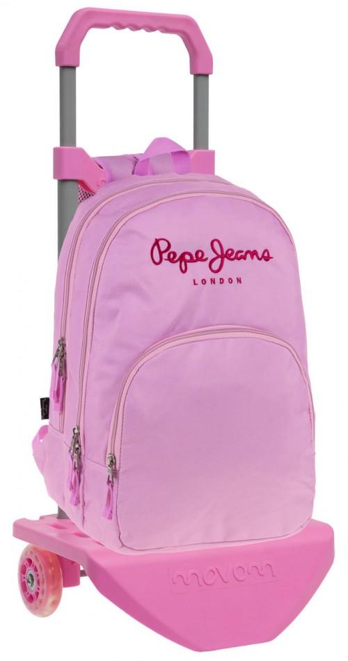 64724M1 Mochila Carro Pepe Jeans Pink 2 Compartimentos