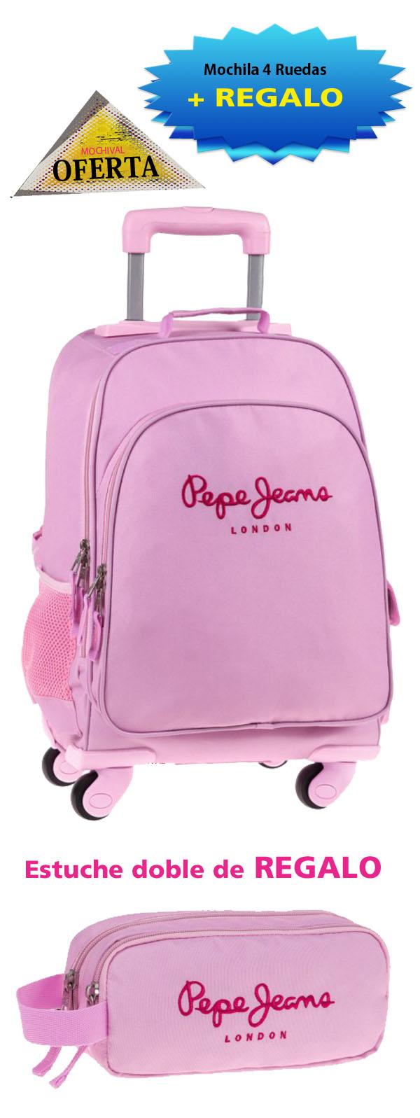 161f59fa4 Mochila 4 Ruedas Pepe jeans Pink 6472851r - Mochilas y maletas MOCHIVAL