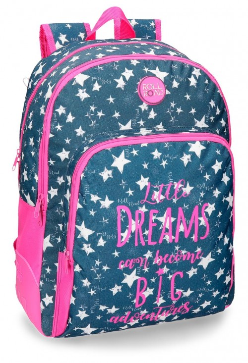 42426B1 Mochila doble reforzada adaptable a carro roll road dreams navy