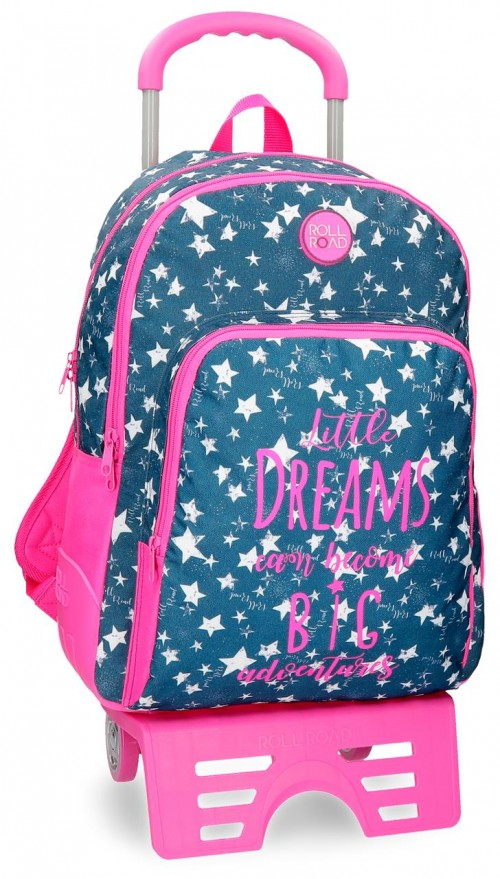 42426N1 mochila doble reforzada con carro roll road dreams navy