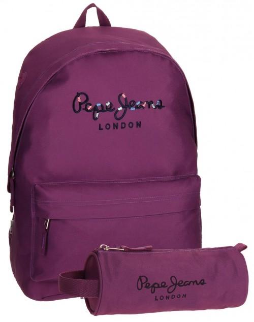 mochila + portatodo de regalo pepe jeans violeta 6682356
