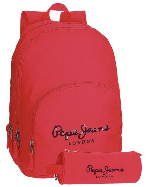Mochila Doble Pepe Jeans Harlow  Fucsia 66824A2