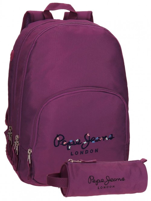 Mochila Doble Pepe Jeans Harlow violeta 66824A6