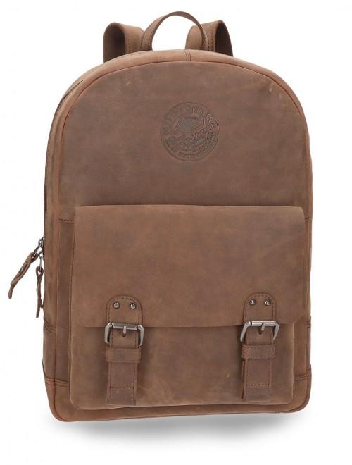 7852352  mochila 42 cm en piel de pepe jeans marrón