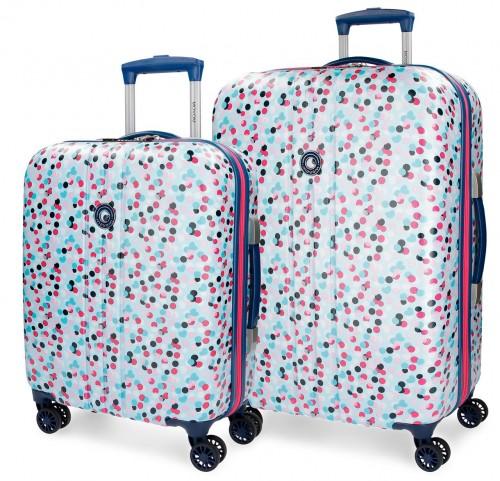 3169561 juego maleta cabina y mediana movom confeti azul