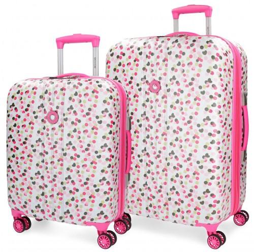 3169562  juego maleta cabina y mediana movom confeti fucsia