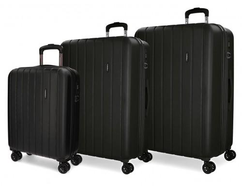 5319461 juego maletas cabina, mediana y grande movom wood negro