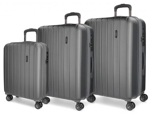 5319462 juego maletas cabina, mediana y grande movom wood antracita