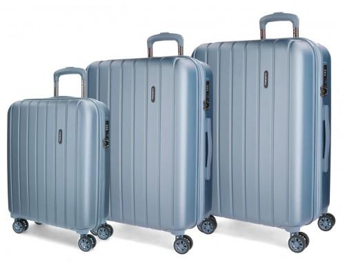 5319463 juego maletas cabina, mediana y grande movom wood plata