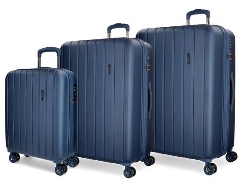 5319464 juego maletas cabina, mediana y grande movom wood azul marino