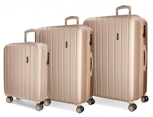 5319465 juego maletas cabina, mediana y grande movom wood champagne