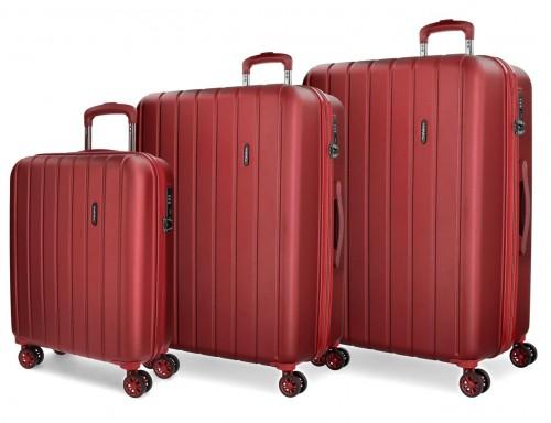 5319466  juego maletas cabina, mediana y grande movom wood  roja