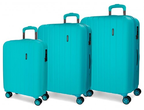 5319467  juego maletas cabina, mediana y grande movom wood turquesa