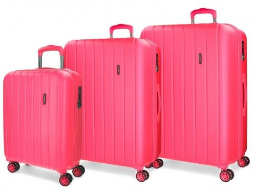 5319468 juego maletas cabina, mediana y grande movom wood  fucsia