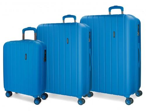 5319469 juego maletas cabina, mediana y grande movom wood azulón