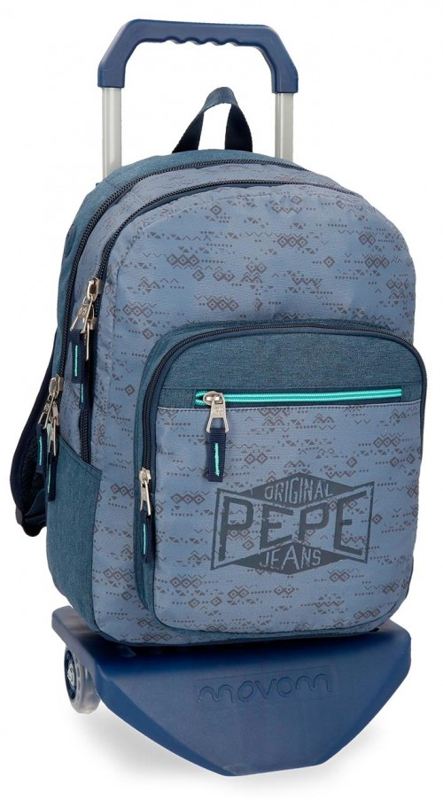 60324N1 mochila doble pepe jeans pierce con carro