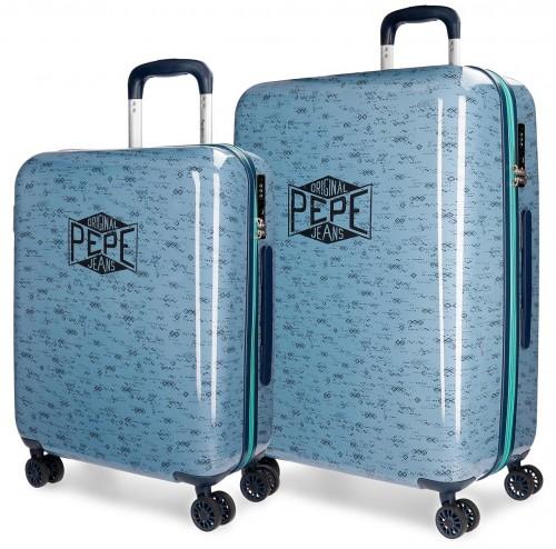 6038961 set trolley cabina y grande pepe jeans pierce 4 ruedas