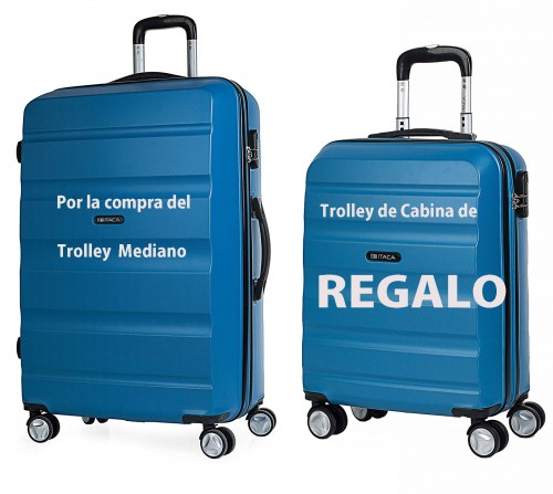 T71660 01 Trolley Mediano azul + trolley de cabina de regalo