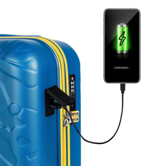 17115001 maleta de cabina en abs lois zion azul puerto USB para carga de dispositivos móviles