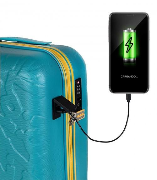 17115002 maleta de cabina en abs lois zion aguamarina puerto usb para la carga de dispositivos móviles