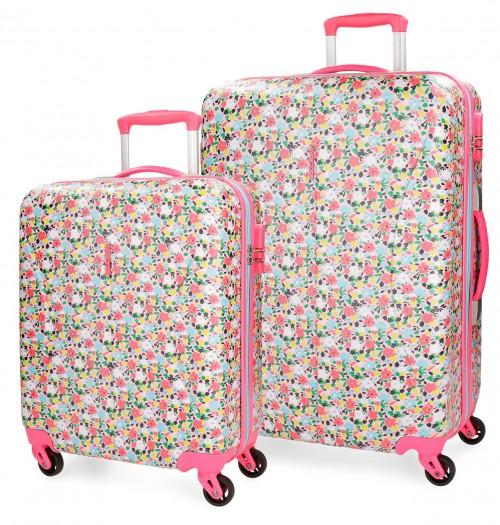 4279561 juego maletas cabina y mediana roll road pretty coral