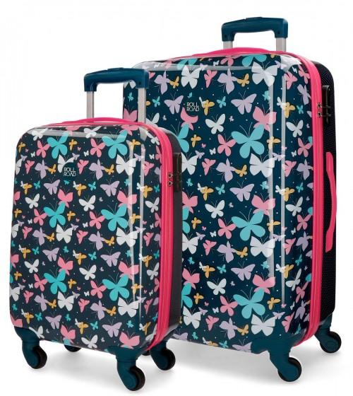 5231961 juego maleta cabina y mediana Roll Road Butterfly 4 ruedas