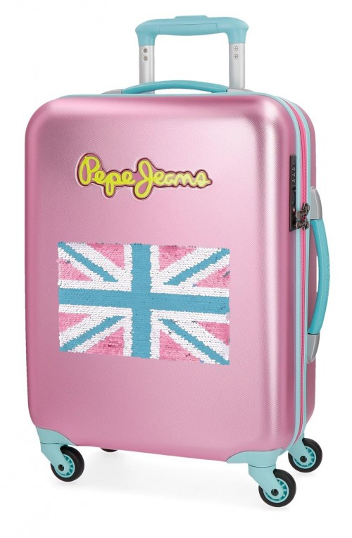 5399167  maleta cabina pepe jeans bristol + bandera Rosa