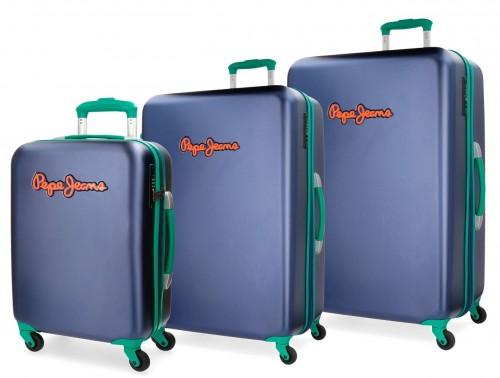 5399461 juego maleta cabina, mediana y grande pepe jeans bristol azul