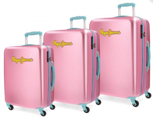 5399463 juego maletas cabina mediana y grande pepe jeans bristol rosa