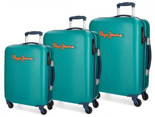 5399464 juego maleta cabina mediana y grande pepe jeans bristol verde