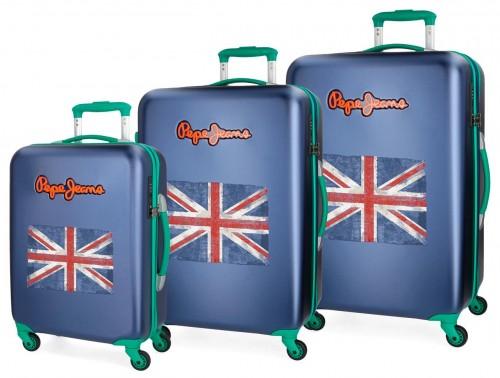 5399465 juego maletas cabina + mediana + grande pepe jeans bristol  bandera azul