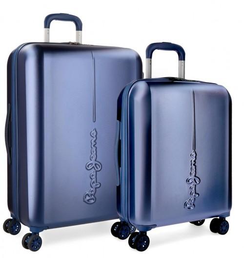 5418963 juego maletas cabina y mediana pepe jeans cambridge azul