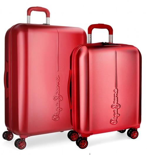 5418964 juego maletas cabina y mediana pepe jeans cambridge rojo