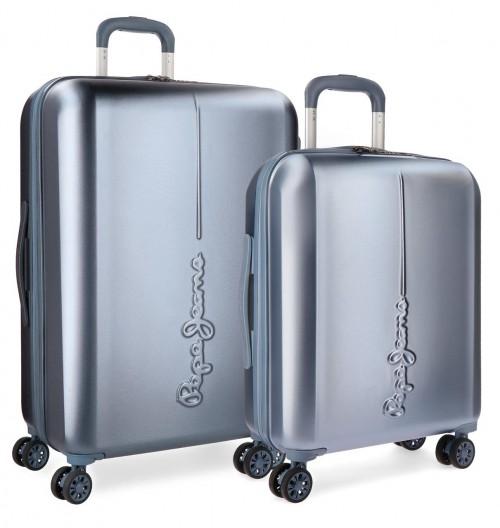 5418966 juego maletas cabina y mediana pepe jeans cambridge celeste