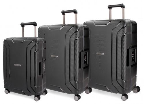 5629461 juego maletas cabina, mediana y grande movom newport negra  polipropileno