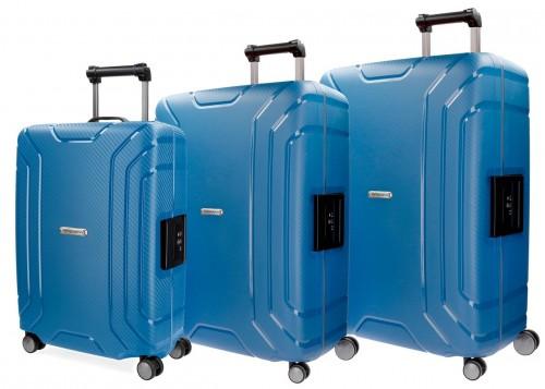 5629462 juego maletas cabina, mediana y grande movom newport azul