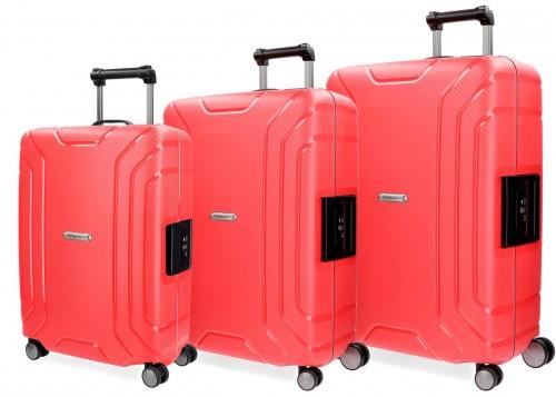 5629463 juego maletas cabina, mediana y grande movom newport rojo