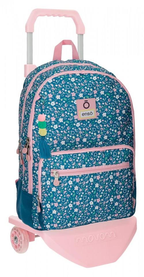 90324N1 mochila doble compartimento con carro enso blue garden