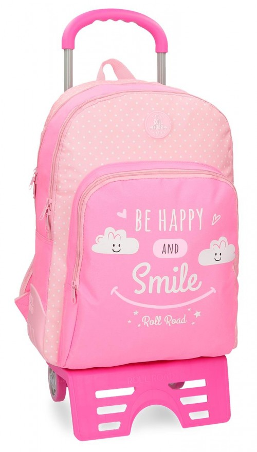 43226N1 mochila doble con carro roll road happy rosa