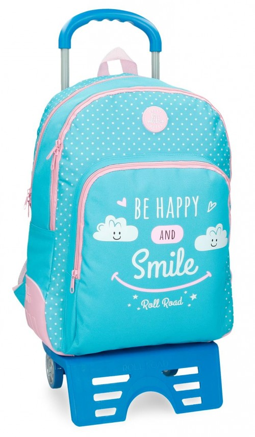 43226N2 mochila doble con carro roll road happy azul