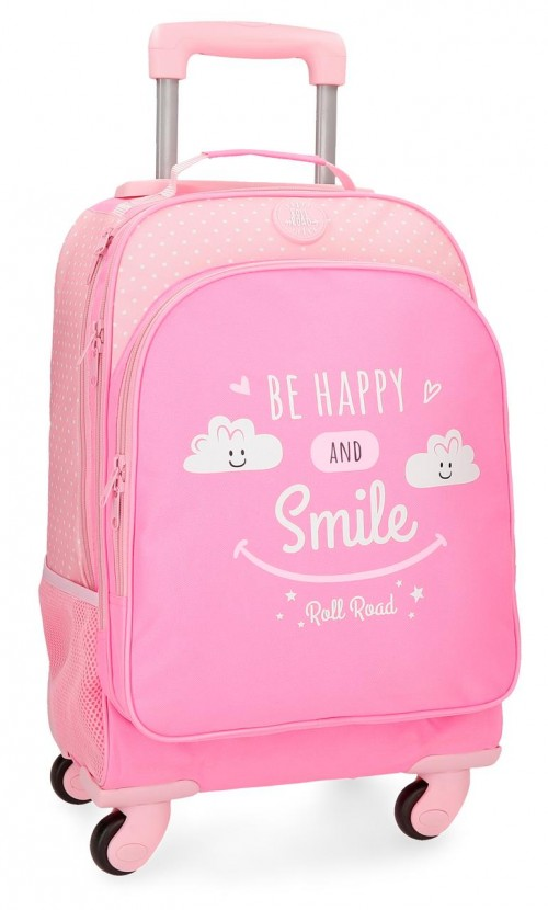 4322861 mochila 4 ruedas roll road happy rosa