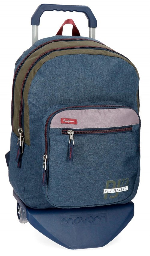 60424N1 mochila doble compartimento con carro pepe jeans trade